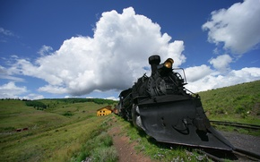 Wallpaper locomotive, Iron, clouds, road, the engine