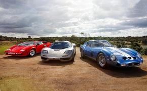 Picture the sky, McLaren, Lamborghini, Ferrari, Ferrari, GTO, the front, and, Countach, Lamborghini, 1993, 1962, McLaren, …