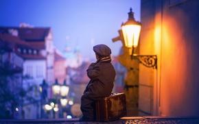 Picture the city, lantern, suitcase, child, Malchik
