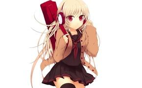Picture headphones, white background, Schoolgirl, long hair, case