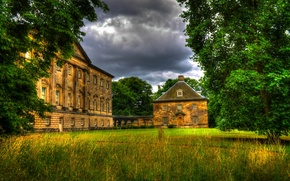 Wallpaper Nostell, nature, treatment, trees, glade, UK, house, grass, clouds