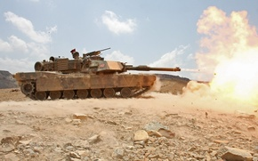 Wallpaper flame, shot, tank, usa, abrams, military equipment