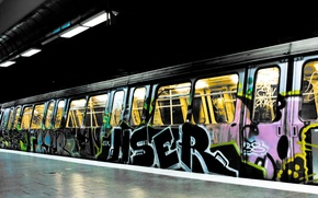 Wallpaper light, city, the city, labels, metro, paint, train, colors, drawings, light, graffiti, 1920x1200, train, lettering, ...