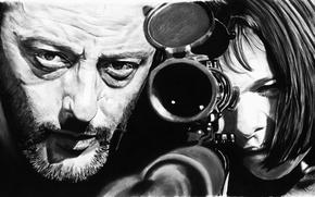 Picture figure, art, optics, black and white, Natalie Portman, Natalie Portman, sniper, Leon, Jean Reno, Leon, …
