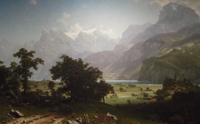 Picture landscape, mountains, picture, Albert Bierstadt, Lake Lucerne
