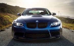 Picture blue, bmw, BMW, shadow, the front, e92, laguna blue