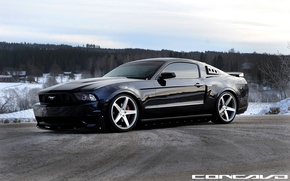Picture Ford Mustang, Grey, Face, Machined, concave, on CW-5 Matte
