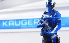 Wallpaper weapons, Mirrors Edge: Catalyst, the enemy, helmet, DICE, KSEC, the vest, armor, soldiers, glasses, Enforcer, ...