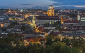 Wallpaper Vilnius, Lithuania, panorama, building, Old town