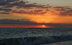 Picture sea, the sun, sunset