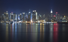 Picture night, lights, river, America, USA, States, usa, new york city, hudson, Hudson, nyc