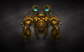 Picture yellow, transformers, the dark background, weapons, mechanism, robot, gun, transformers