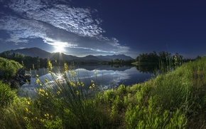 Picture morning, sunrise, reflection, mountains, France, France, Alistro, river Alistro, Corsica, Corsica, dawn, grass, river, clouds