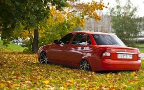 Picture road, autumn, leaves, drives, red, prior, priora, Lada 2170
