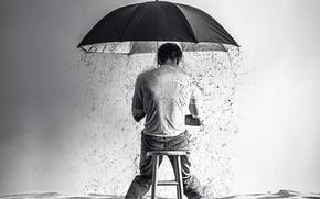 Picture rain, boy, surreal, stool