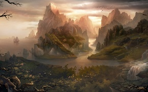 Wallpaper ships, mountains, art, Asia, home, trees, temple, sailboats, view, rocks, river, landscape