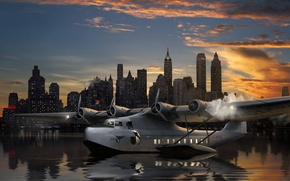 Picture the plane, art, background, seaplane, Pan American Airways System, city., night