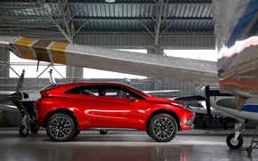 Picture photo, Red, Mitsubishi, Car, Side, 2015, Metallic, XR-PHEV II