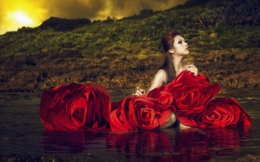 Picture water, girl, flowers, style, roses, Asian
