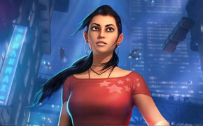 Picture girl, machine, night, the city, fiction, stars, top, game wallpapers, Dreamfall: Chapters