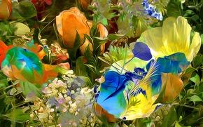 Picture flowers, touch, paint, petals, meadow, line