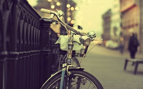 Picture bike, the city, lights, people, street, fence, bokeh