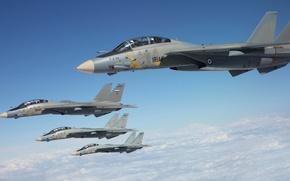 Picture the sky, fighters, Grumman, Tomcat, F-14, deck