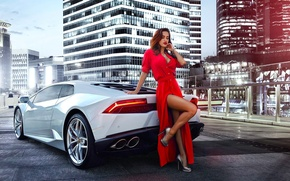 Wallpaper Lamborghini, Legs, Red, Dress, Model, White, Girl, Nice, Huracan