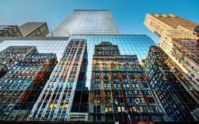 Picture the sky, glass, reflection, skyscraper, high resolution