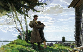 Picture mood, figure, meeting, soldiers, birch