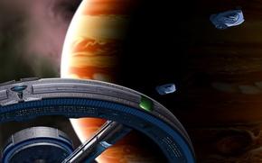 Picture ships, station, Jupiter