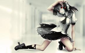Picture touhou, anime, Aya Shameimaru, Red Eyes, camera, red thread
