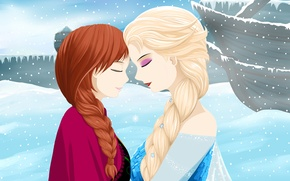 Picture Frozen, Disney, Anna, Anna, Princess, Cartoon, Elsa, Elsa, Snow Queen, Cold heart, Sisters, Sisters, Princess