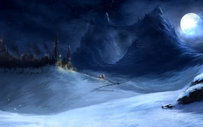 Picture snow, mountains, night, lights, castle, the moon