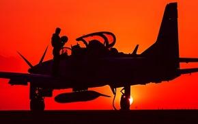Picture silhouette, pilot, attack, easy, turboprop, A-29, Super Tucano