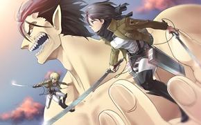 Picture girl, weapons, sword, anime, art, giant, guy, the battle, shingeki no kyojin, mikasa ackerman, eren …