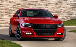 Picture auto, red, Dodge, Charger, the front