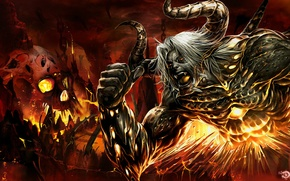 Picture fire, mouth, horns, skull, the devil, Satan, Welcome to Hell