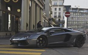 Wallpaper girl, grey, street, Lamborghini, supercar, girl, supercar, street, aventador, lp700-4, Lamborghini, aventador, gray