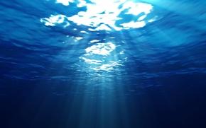 Wallpaper blue, water, rays, light