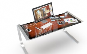 Picture iDesk, table, reflection, Apple, concept, design