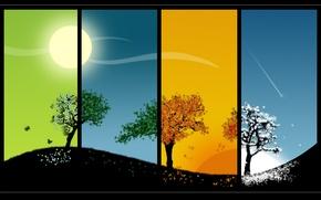 Picture the sun, trees, seasons, seasons