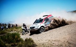 Picture Auto, Dust, White, Sport, Speed, Skid, Motorcycle, Toyota, Heat, 302, Rally, Dakar, SUV, Rally, Machines