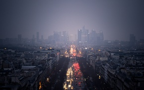Wallpaper road, clouds, machine, the city, lights, rain, overcast, skyscrapers, Paris. The view of the district ...