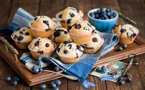 Picture berries, blueberries, spoon, still life, keys, dessert, cakes, card, postcard, cupcakes
