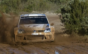 Picture Volkswagen, Machine, puddle, Logo, The hood, Dirt, WRC, Rally, The front, Polo, Motosport