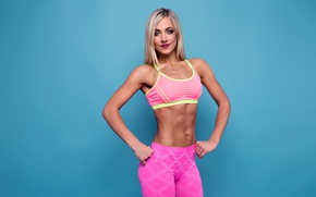 Picture blonde, pose, fitness, abs