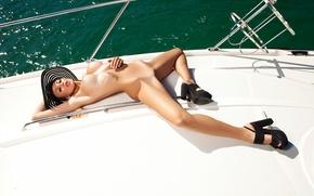 Wallpaper sea, chest, look, model, hat, yacht, blonde, khloe grains of