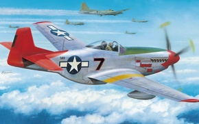 Picture aviation, ww2, painting, art, At tuskegee airmen, P-51 D Mustang, aircraft, war