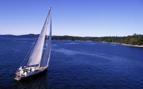Picture coast, yacht, Canada, sail, British Columia